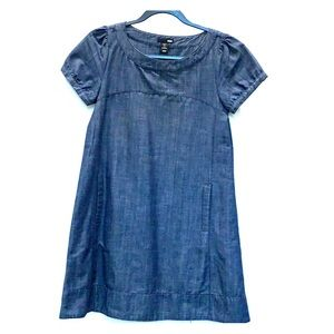 H&M denim chambray A-line dress